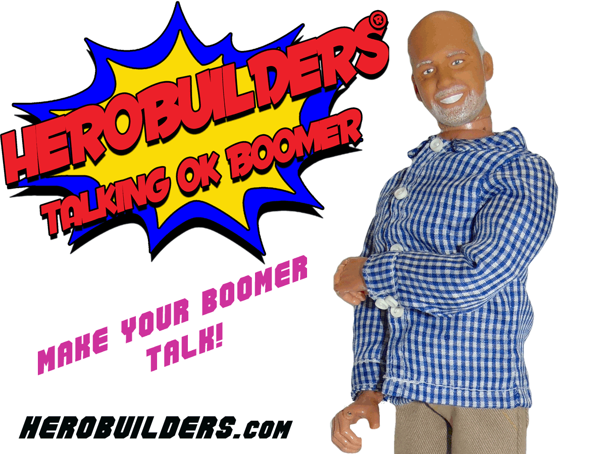 Showing a talking programmable action figure of and older man what is known as a Boomer